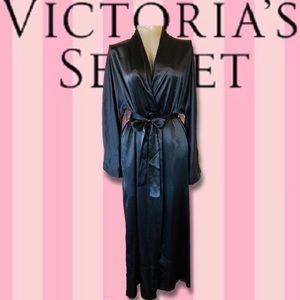 VS Black Satin Duster Length Robe